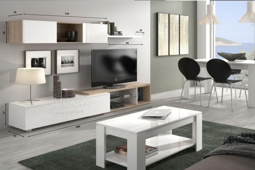 Mueble de sal n comedor naia en color blanco y roble for Modulos muebles salon