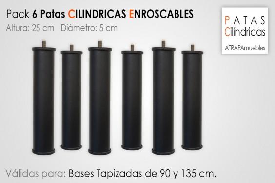 Pack 6 Patas Cilindricas 25 cm
