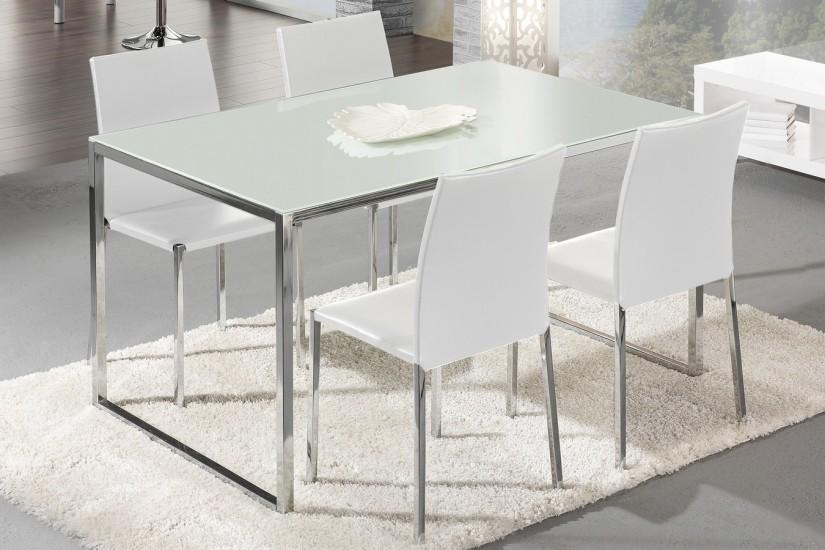Mesa de salón comedor POLIGON 140 x 90 cm. Cristal blanco. - photo#33