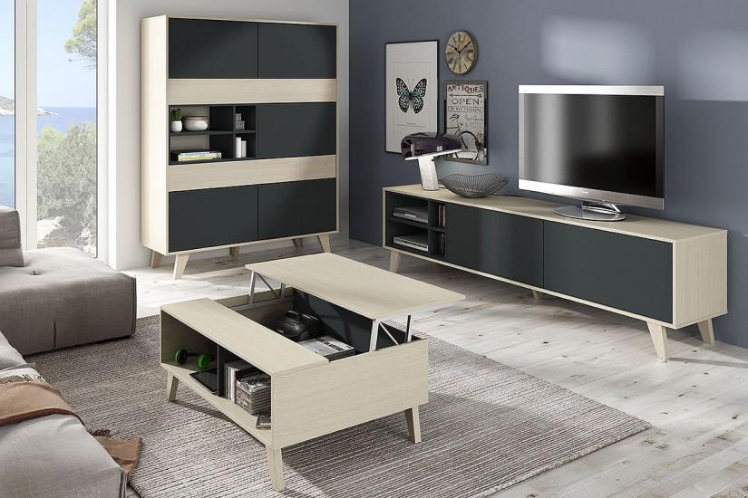 Mueble de salón – comedor ZAIKEN en color Roble Natural y gris
