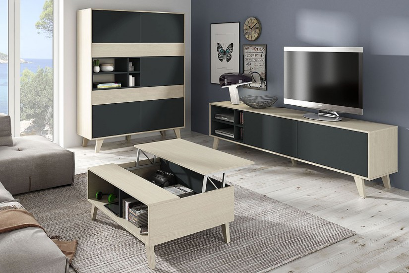 Mesa de centro elevable zaiken en color roble natural y - Mesa de salon elevable ...