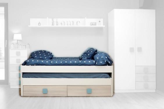 Cama nido doble con 2 cajones al mejor precio de internet for Precio cama nido doble con cajones