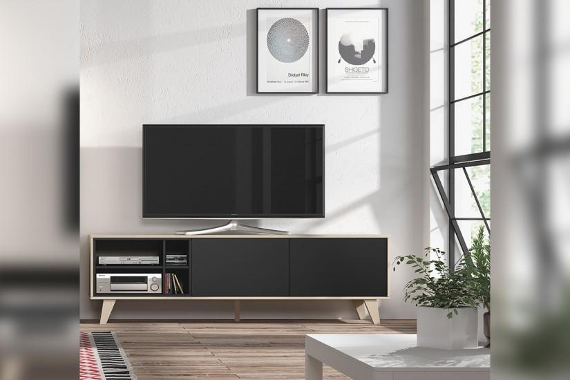 Mueble de sal n comedor zaiken en color roble natural y gris antracita al mejor precio - El mueble salon ...
