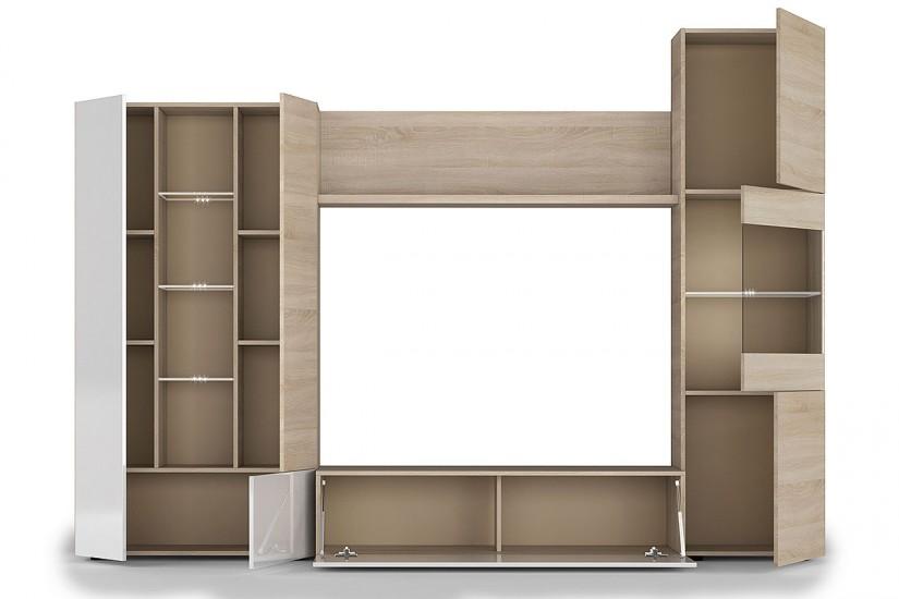 Mueble de sal n comedor essential en color roble canadian con efecto aserrado y blanco - Muebles de tv conforama ...