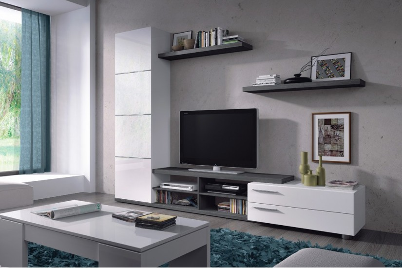 Mueble de sal n tv adhara en color blanco y gris ceniza al for Muebles compactos salon