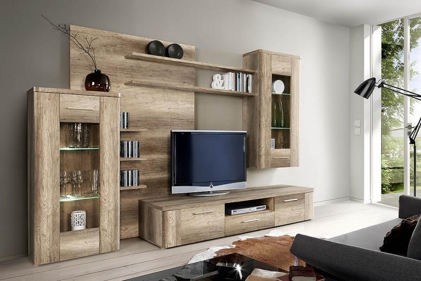 Mueble de sal n comedor moderno buffalo roble al mejor for Muebles modulares para salon