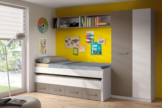 Conjunto juvenil ARES Plus (cama + armario + estantería)