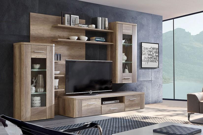 Mueble de sal n comedor moderno buffalo roble al mejor for Muebles modulos salon