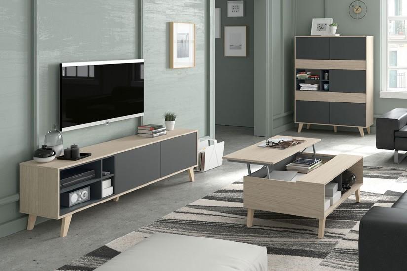 Mueble de sal n comedor zaiken en color roble natural y - Muebles bajos para salon ...