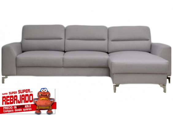 Sofá Chaiselongue 3 Plazas MIRACLE Gris claro