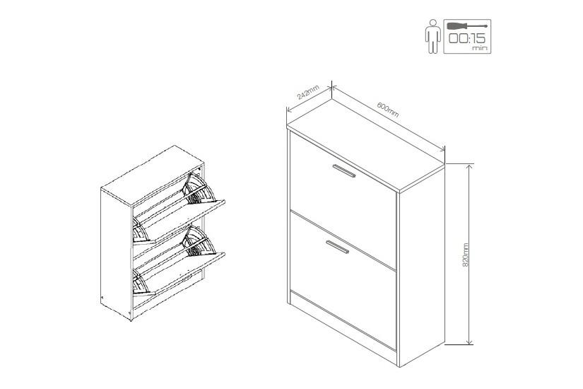Zapatero de 2 puertas abatibles puente ny for Como hacer una zapatera de madera paso a paso