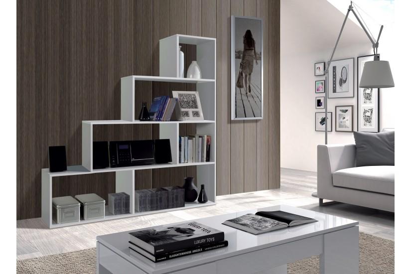 Estanter a decorativa klum en forma de escalera en color blanco blanco brillo al mejor precio - Decoracion de estanterias ...