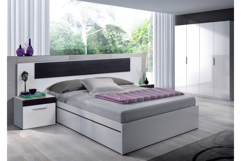 Cama de 150 con 4 cajones kendra al mejor precio de internet for Estructura cama matrimonio