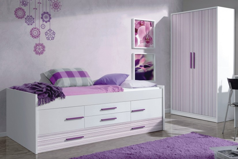 Cama doble iplash con somier 2 puertas y 2 cajones - Dormitorio juvenil doble cama ...