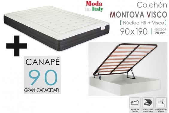 PACK Canapé ECO + Colchón MONTOVA VISCO 90