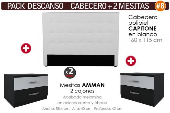 Pack AHORRO Cabecero Blanco + 2 Mesitas AMMAN