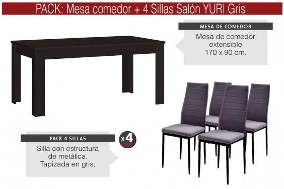 PACK Mesa RUBIS Ebano + 4 Sillas YURI Gris