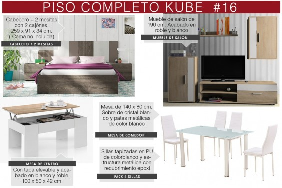 Piso completo 16 - KUBE (Pack Mesa + 4 Sillas Blancas)