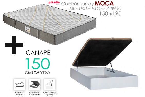 PACK Canapé RECKTO + Colchón Sunlay MOCA 150x190