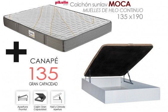 PACK Canapé RECKTO + Colchón Sunlay MOCA 135x190