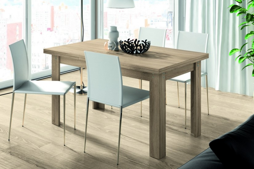 Mesa de comedor rectangular logan extensible en color for Mesas salon comedor extensibles