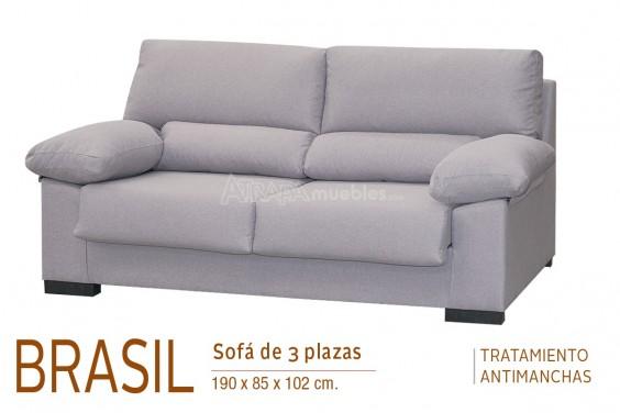 Sofá 3 Plazas BRASIL Gris