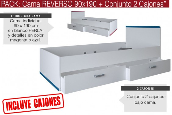 Cama REVERSO 90x190 + Conjunto 2 Cajones bajo cama