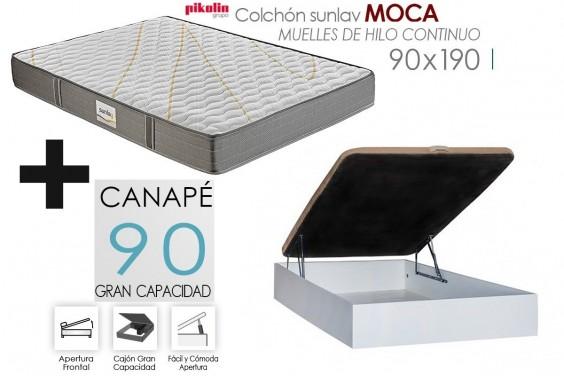 PACK Canapé RECKTO + Colchón Sunlay MOCA 90x190
