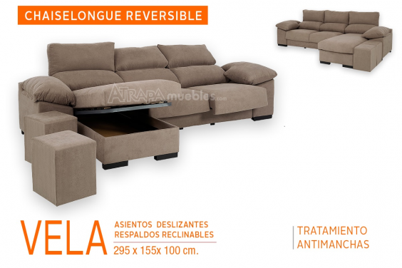 Sofá Chaiselongue Reversible VELA Marrón (Con ARCÓN)