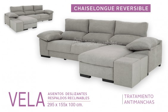 Sofá Chaiselongue Reversible VELA Gris Medio