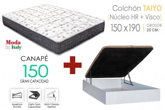 PACK Canapé RECKTO + Colchón TAIYO VISCO 150
