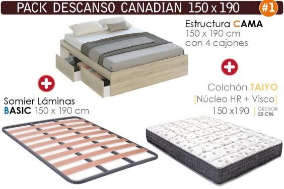 Pack AHORRO Descanso TAIYO CANADIAN 150x190