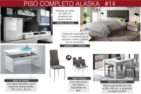 Piso completo 14 - ALASKA (Sillas SAKURA CZ Gris - Cabecero PU Gris)