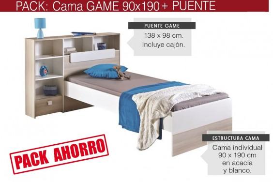 Pack Cama con Puente GAME 90x190 Acacia/Blanco