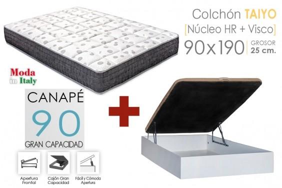 PACK Canapé RECKTO + Colchón TAIYO VISCO 90X190