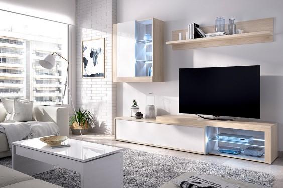 Mueble salón KOLN LEDs Roble Natural