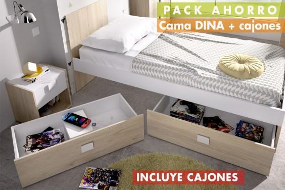 Cama DINA 90x190 + Conjunto 2 Cajones bajo cama