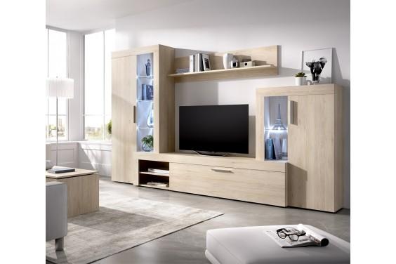 Mueble de salón GLEIN LEDs Roble Natural