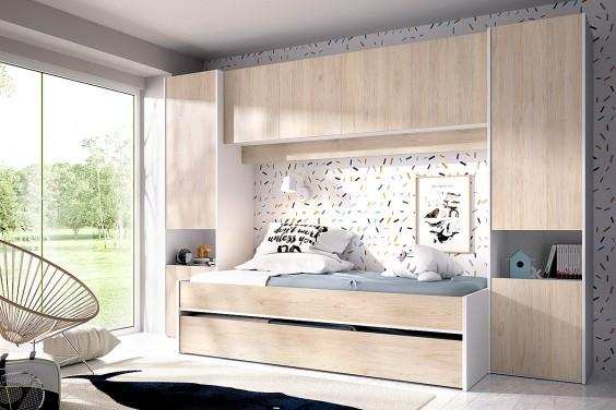 Dormitorio Puente juvenil KWAI Roble/Blanco