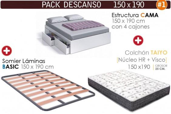 Pack AHORRO Descanso Cama 4 cajones Blanca + TAIYO 150x190