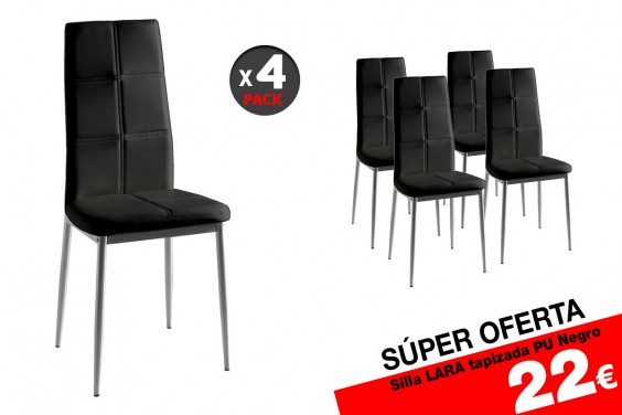 4 sillas salón LARA Negro 22 €/u.