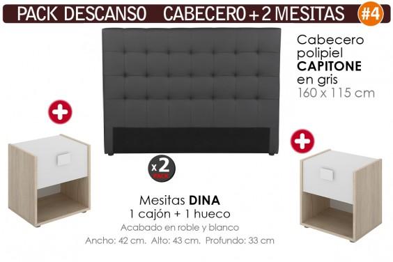 Pack AHORRO Cabecero Capitone Polipiel Gris + 2 Mesitas DINA