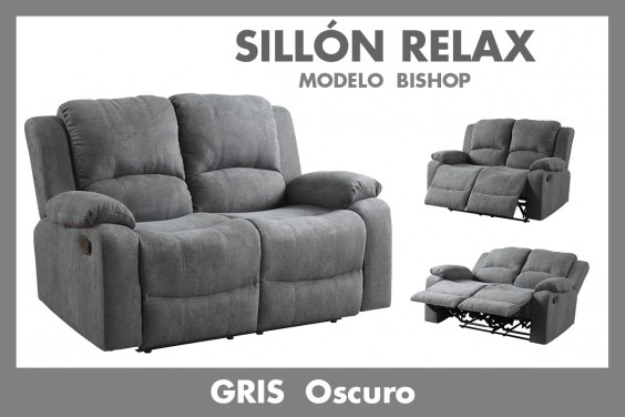 Sofá Relax 2 Plazas BISHOP Gris Oscuro