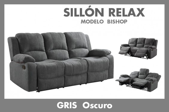 Sofá Relax 3 Plazas BISHOP Gris Oscuro