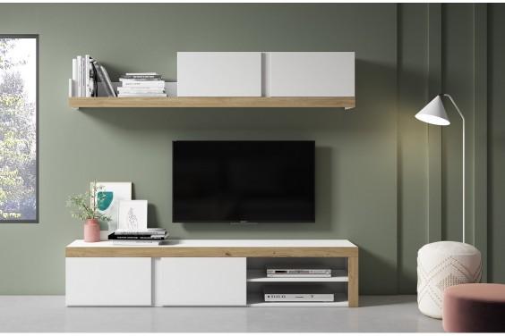 Mueble de salón FLY Blanco Mate / Roble Naturale