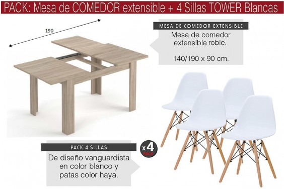 PACK Mesa CANADIAN + 4 Sillas TOWER Blancas diseño