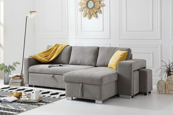Sofá Chaiselongue Cama MOSCU Gris REVERSIBLE