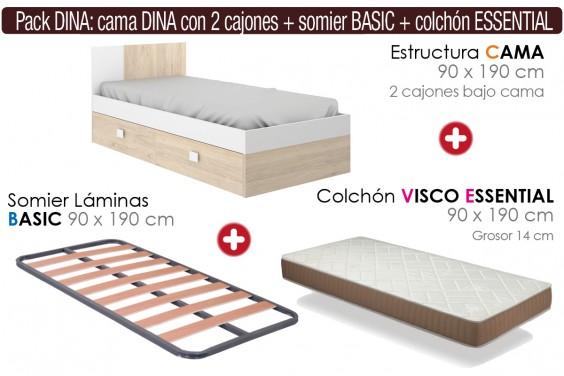 Pack AHORRO Cama DINA + Cajones + Somier + Colchón Visco ESSENTIAL 90x190