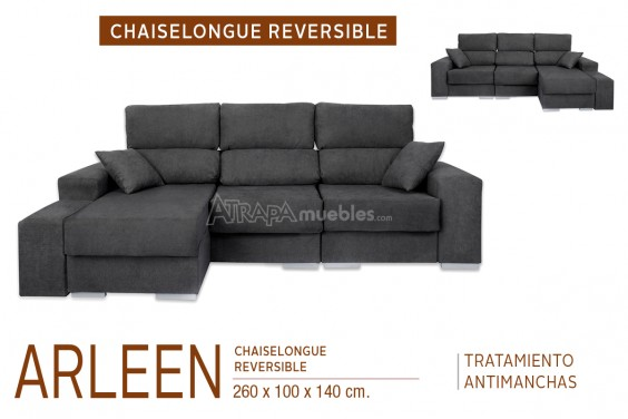 Chaiselongue ARLEEN Gris Reversible