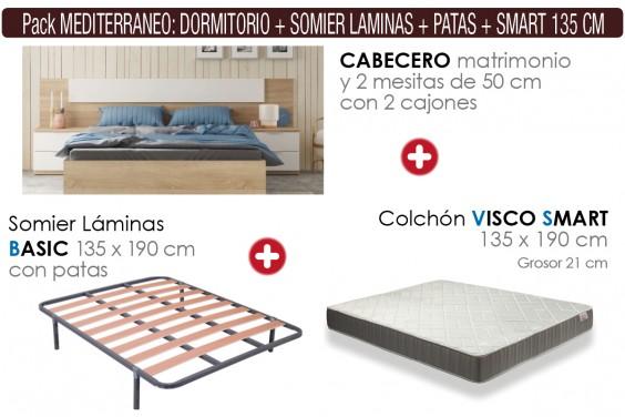 Pack AHORRO Dormitorio Mediterraneo + Somier con patas + Colchón Visco SMART 135x190